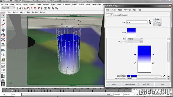 Defining an emission ramp: Liquid Simulation in Maya