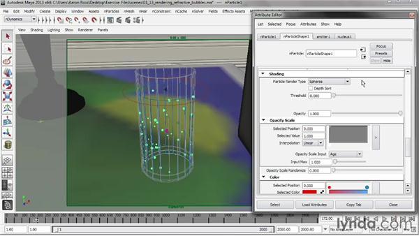 Rendering refractive bubbles: Liquid Simulation in Maya