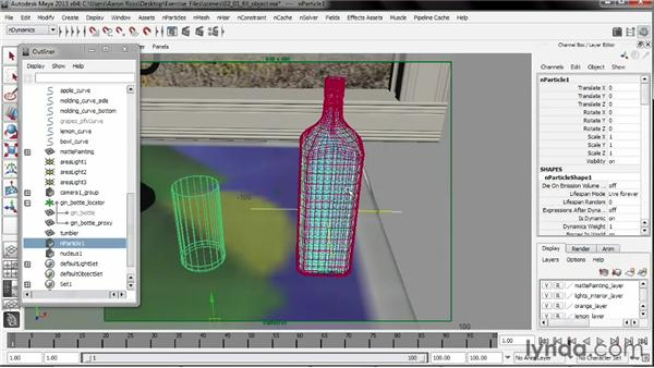 Filling a container using Fill Object: Liquid Simulation in Maya