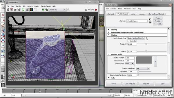 Controlling nParticle shading: Liquid Simulation in Maya