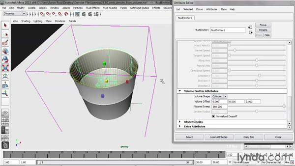 Emitting density from a volume emitter: Liquid Simulation in Maya