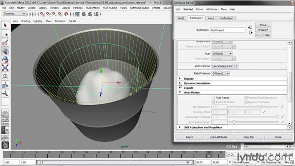 Adjusting Simulation Rate Scale: Liquid Simulation in Maya