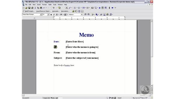 editing a template: WordPerfect 12 Essential Training