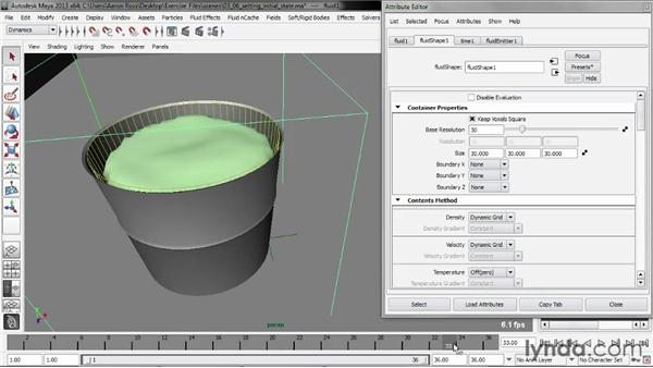 Setting the initial state: Liquid Simulation in Maya
