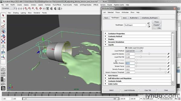 Adjusting density tension and force: Liquid Simulation in Maya