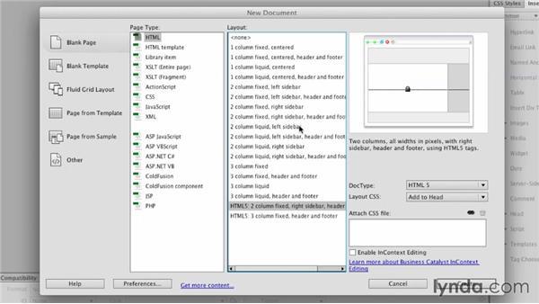 The New Document dialog: Dreamweaver: Creative Cloud Updates