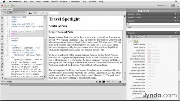 Styling content using CSS Designer: Dreamweaver: Creative Cloud Updates