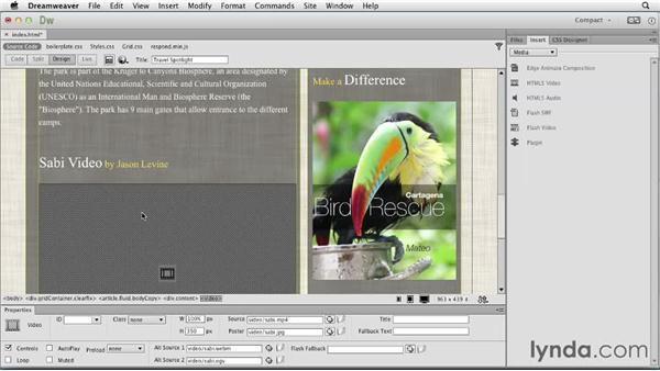 Adding HTML5 audio and video: Dreamweaver: Creative Cloud Updates