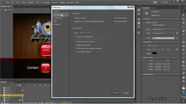 Changes to the Flash interface and performance improvements: Flash Professional: Creative Cloud Updates