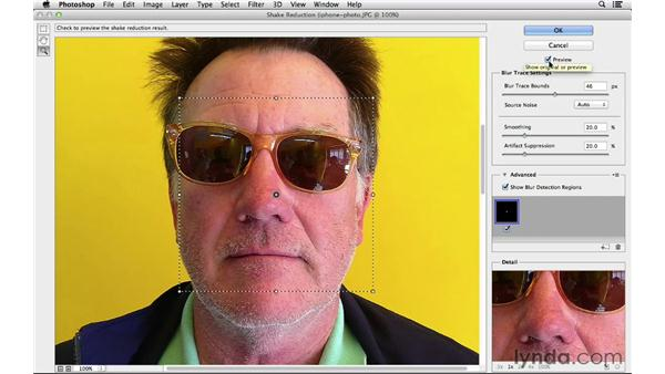 Sharpening a camera phone photo with Shake Reduction: Photoshop for Photographers: 2013 Creative Cloud Updates
