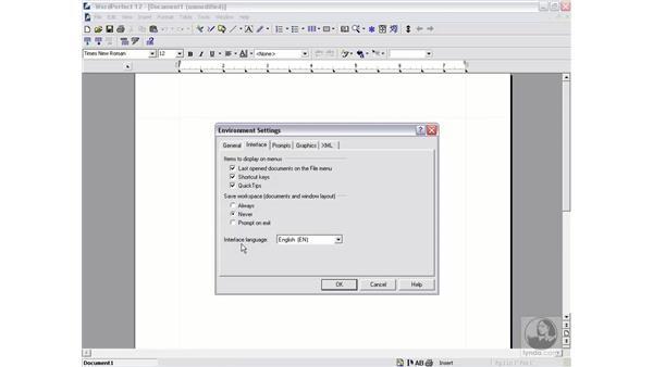 environment settings: WordPerfect 12 Essential Training