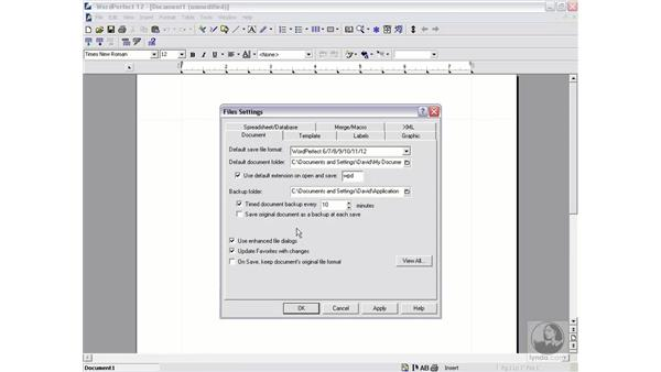 file settings: WordPerfect 12 Essential Training