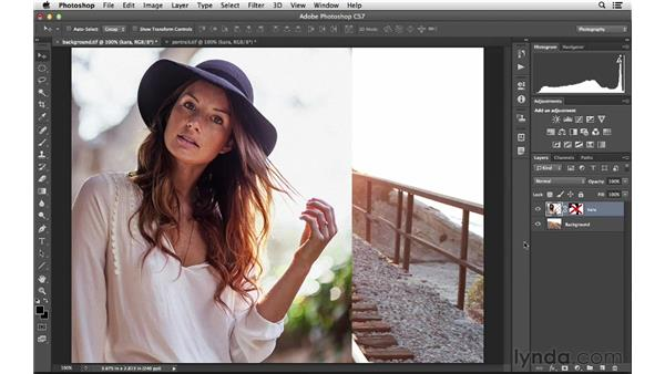 Combining elements from multiple tabbed documents: Photoshop for Photographers: 2013 Creative Cloud Updates