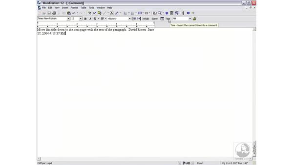 using comments: WordPerfect 12 Essential Training