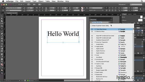 Exploring the enhanced Font menu: InDesign: 2013 Creative Cloud Updates