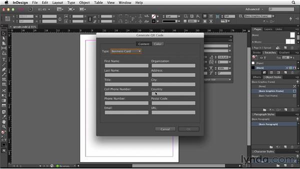 Creating QR codes: InDesign: 2013 Creative Cloud Updates