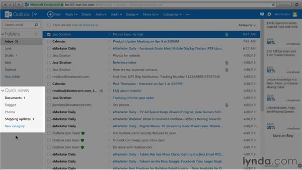 Touring the Outlook.com interface: Outlook.com Essential Training