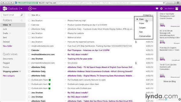 Customizing the inbox: Outlook.com Essential Training