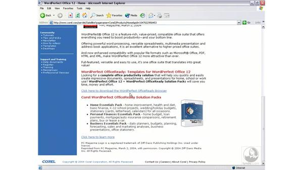 Corel on the web: WordPerfect 12 Essential Training