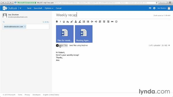 Adding attachments to a message: Outlook.com Essential Training