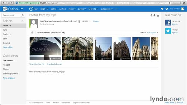 Working with Active Views and photos in messages: Outlook.com Essential Training