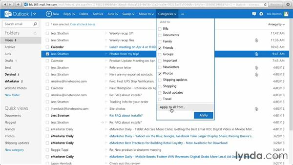 Using quick views and assigning categories: Outlook.com Essential Training