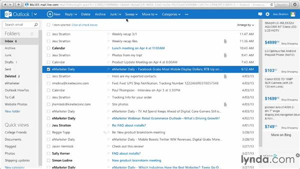 Scheduling cleanup and sweeping your inbox: Outlook.com Essential Training