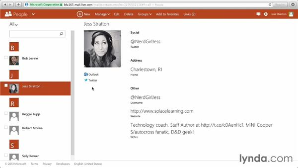 Importing contacts from other social networks: Outlook.com Essential Training