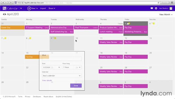 Introducing the calendar: Outlook.com Essential Training