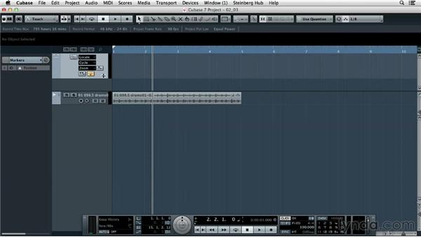 Understanding the timeline and adding markers: Up and Running with Cubase 7
