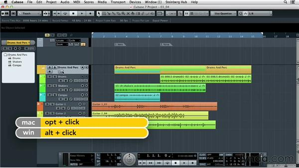 Keeping your session tidy with folders: Up and Running with Cubase 7