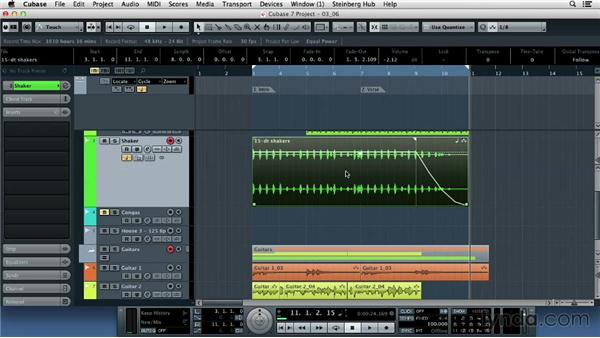 Using fades and crossfades: Up and Running with Cubase 7