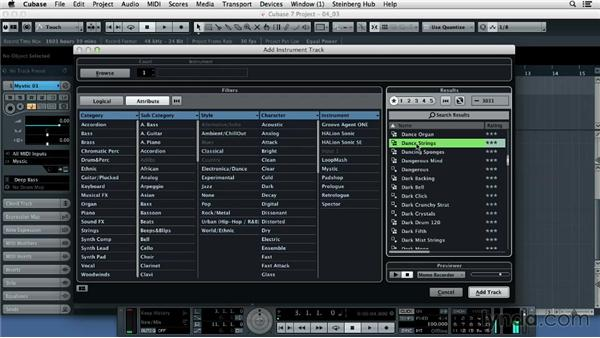 Choosing and browsing sounds on the MediaBay: Up and Running with Cubase 7