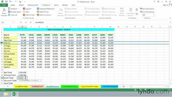 Using entire row/column references: Excel 2013: Advanced Formulas and Functions