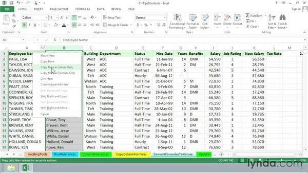 Converting formulas to values with a simple drag: Excel 2013: Advanced Formulas and Functions