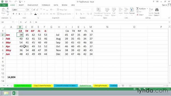 Updating values without formulas: Excel 2013: Advanced Formulas and Functions