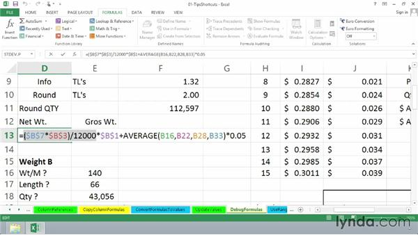 Simplifying debugging formulas: Excel 2013: Advanced Formulas and Functions