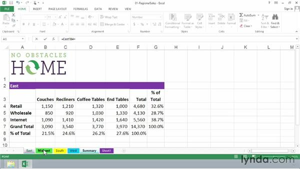Creating 3D formulas to gather data from multiple sheets: Excel 2013: Advanced Formulas and Functions