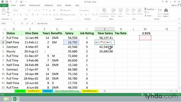 Using absolute and relative references in formulas: Excel 2013: Advanced Formulas and Functions