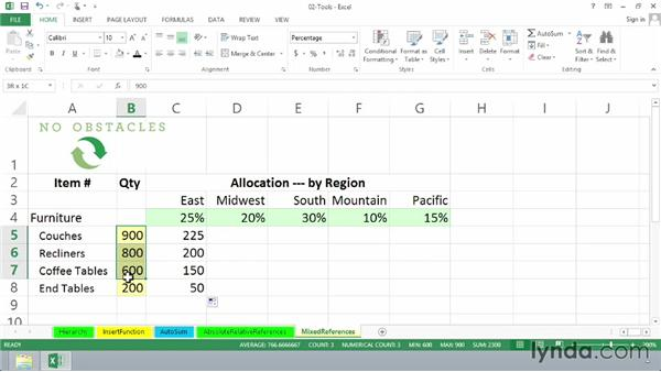 Using mixed references in formulas: Excel 2013: Advanced Formulas and Functions