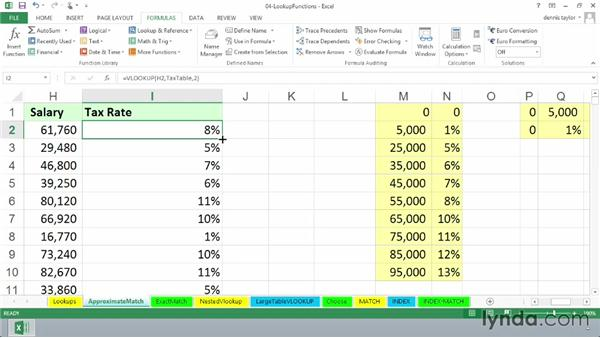 Finding approximate matches with VLOOKUP: Excel 2013: Advanced Formulas and Functions