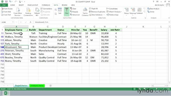 Tabulating information using a single criterion with COUNTIF, SUMIF, and AVERAGEIF: Excel 2013: Advanced Formulas and Functions