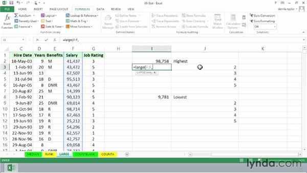 Finding the largest and smallest values with LARGE and SMALL: Excel 2013: Advanced Formulas and Functions