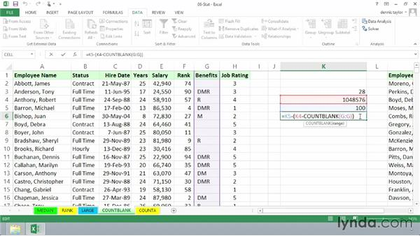 Tabulating blank cells with COUNTBLANK: Excel 2013: Advanced Formulas and Functions