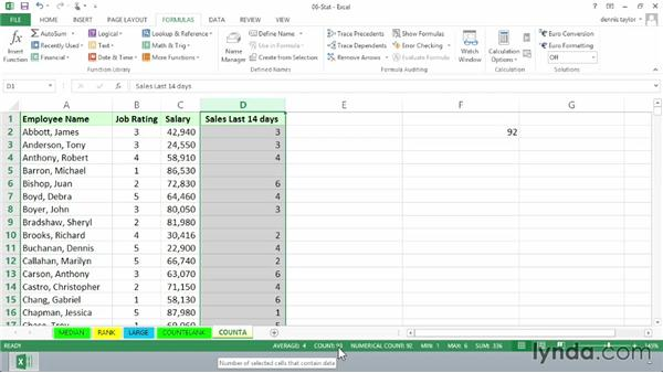 Using COUNT, COUNTA, and the status bar: Excel 2013: Advanced Formulas and Functions