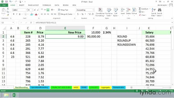 Working with ROUND, ROUNDUP, and ROUNDDOWN: Excel 2013: Advanced Formulas and Functions