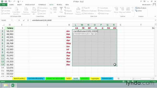 Practical uses for the random number functions RAND and RANDBETWEEN: Excel 2013: Advanced Formulas and Functions