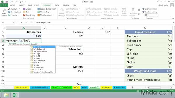 Converting a value between measurement systems with CONVERT: Excel 2013: Advanced Formulas and Functions