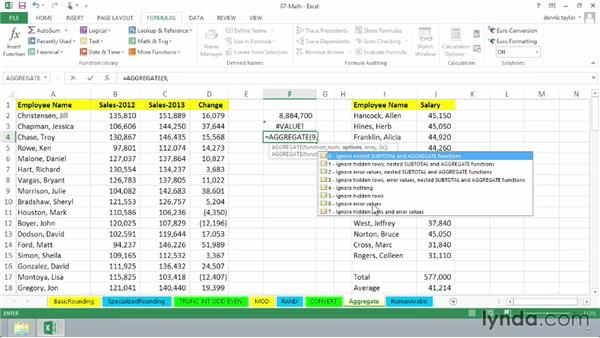 Using the powerful AGGREGATE function to bypass errors and hidden data: Excel 2013: Advanced Formulas and Functions