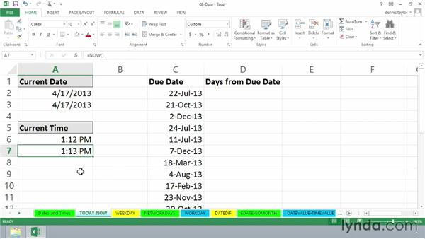 Using TODAY and NOW functions for dynamic date/time entry: Excel 2013: Advanced Formulas and Functions